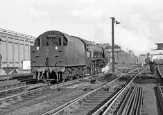 Having worked in earlier Coronation Pacific 46233 'Duchess of Sutherland' approaches Camden for servicing, Train Car, Train Tracks, Holland, Chattanooga Choo Choo, Old Steam Train, Steam Railway, British Rail, Train Engines, Steamers