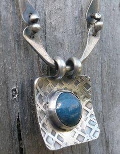 Sterling silver and blue enamel pendant by LjBjewelry
