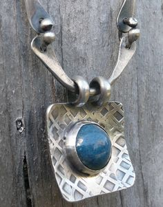Sterling silver and blue enamel pendant by LjBjewelry