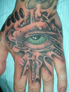 One Eye Hand Tattoos Designs