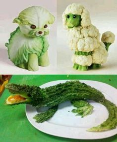 Cute Food Art of veggiesFruit and Vegetable Artthis is a picture of vegetable animalsHave you ever tried to get crafty with your food? Cake and chocolate are one popular medium, but there is another level of difficulty with fruits and veggies that ar Cute Food Art, Creative Food Art, Veggie Art, Fruit And Vegetable Carving, Veggie Food, Fruit Animals, Vegetable Animals, Animal Food, Green Animals
