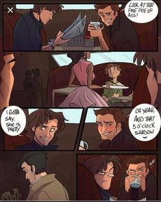 Read A Destiel Comic! from the story Some Random Fanart by (Jake A. Sam's face in the last panel is. Supernatural Drawings, Supernatural Tattoo, Supernatural Pictures, Supernatural Fan Art, Supernatural Wallpaper, Supernatural Bloopers, Johnlock, Destiel Fanart, Supernatural Cast