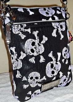 Betsey Johnson Sequin Skull Purse NWOT Hard Cross Body Or Not Adjustable Strap