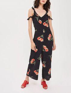 115e68566ae Topshop Black Floral Polka Dot Spot Jumpsuit Size UK 12 rrp 42 DH181 CC 01 #