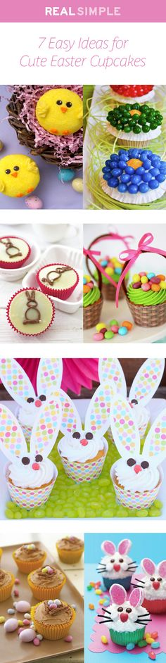 7 easy DIY ideas for cute Easter cupcakes.