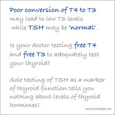 Are you being told that your #thyroid function is normal based on testing of just your #TSH? Poor conversion of #T4 to #T3 may lead to low T3 levels while TSH may be 'normal'. Is your doctor testing free T4 and free T3 to adequately test your thyroid? Sole testing of TSH as a marker of thyroid function tells you nothing about levels of thyroid hormones!  #hypothyroidism #hashimotosthyroiditis #functionalmedicine