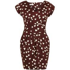 Closet Wine heart print dress by None, via Polyvore