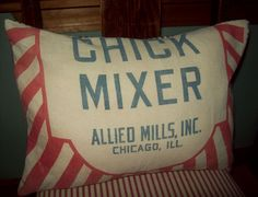 Vintage Chicken Feed Sack Pillow Cover