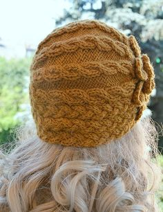 Knitted cap in flower cap hat lovely warm autumn by DosiakStyle