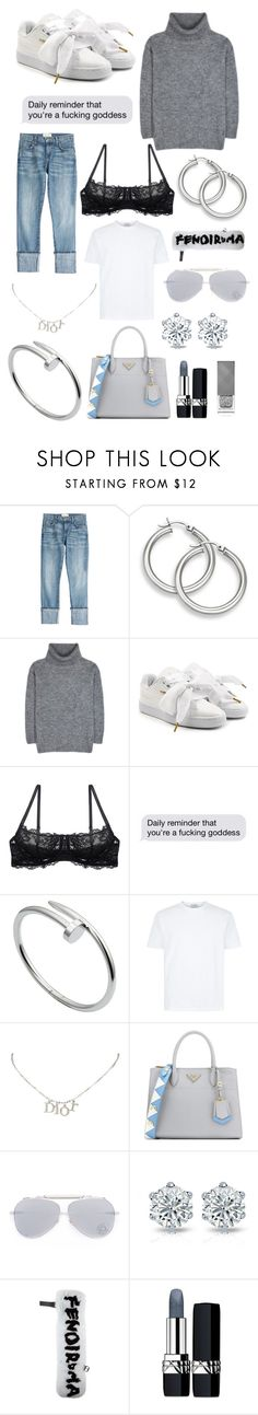 """loving spring"" by ccccroy on Polyvore featuring Mode, Current/Elliott, Yves Saint Laurent, Puma, Montelle, Cartier, Christian Dior, Prada, Jacques Marie Mage und Fendi"