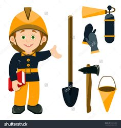 the child is dressed in the working uniform of a fireman holding a book. cartoon schoolboy pointing at the fire equipment: axe, shovel, fire extinguisher, bucket, gloves