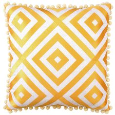 Jennifer Paganelli St. Thomas Yellow Embroidered Pillow   as seen in... @Rue Mapp Mapp Magazine March 2012