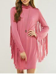 Cowl Neck manches longues franges Skinny Robe
