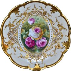 Limoges Gold Drenched Plate with Pink and White Reflecting Waters Roses Signed Master French Artist Carville