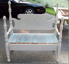 bench marathon day 010 Great site for making benches from old beds and reclaimed wood ! Handmade Furniture, Repurposed Furniture, Diy Furniture, Furniture Design, Bed Frame Bench, Headboard Benches, Wood Headboard, Man Cave Room, Old Beds
