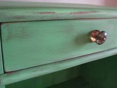 Green distressing done with Antibes Green Chalk Paint and a dark wax.