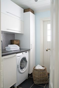 tall cabinet in laundry room Laundry Cupboard, Laundry Room, Stacked Washer Dryer, Cupboards, Mudroom, Beach House, Naked, Room Ideas, Heaven