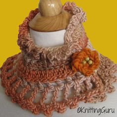 Autumn Hues Crochet Lace Cowl Collar Cape with Flower Brooch by KnittingGuru.