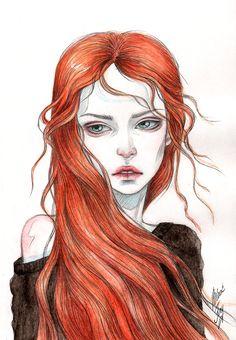 Wind in the fiery hair by BlackFurya.deviantart.com on @DeviantArt