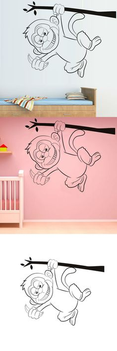 Hot Sale Vinyl Wall Decal Animal Removable Cute Hanging Monkey Wall Stickers Cartoon Baby Room Home Decor $10.83