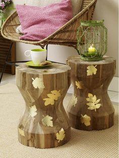 Stimmungsvolle Herbstdeko basteln Schlichte Holzmöbel bekommen ganz ...