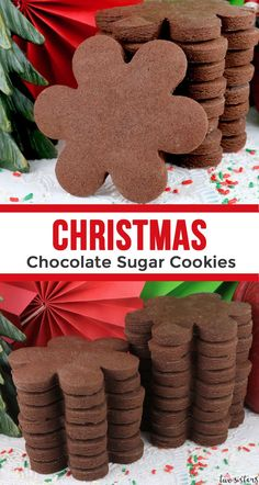 This is The Best Chocolate Sugar Cookie Recipe you& ever tasted - so yummy and easy to make. And the dough holds its shape each and every time. Chocolate Sugar Cookie Recipe, Best Sugar Cookie Recipe, Chocolate Roll, Best Sugar Cookies, Christmas Sugar Cookies, Christmas Chocolate, Best Chocolate, Chocolate Cookies, Christmas Desserts