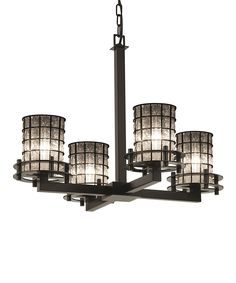 Look at this Matte Black Four-Light Chandelier on #zulily today!