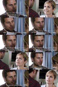 psych Juliet and shawn. right when he's about to say that he likes her more than a friend and then chickens out!