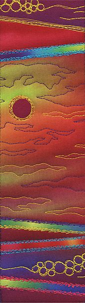 """Desert Sunrise, quilt art by Jan Rickman: """"Captures the simplicity of line and color in the clarity of early desert light,"""" says the artist. Appearing in ARTerrain Issue 25. View full gallery at http://terrain.org/arterrain/25/gallery.htm."""