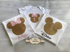 Minnie Mouse Princess Glitter Tee Shirt, Child-Adult Sizes - Mom, Dad, Baby