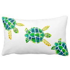 Swimming Baby Sea Turtles Throw Pillows