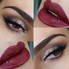 neutral smokey eye, black winged liner, dark red lips, @rania_bellamarie_mua | #eyeliner classic chic but sexy makeup
