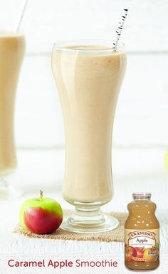 Caramel Apple Smoothie ) ) This smoothie recipe proves that caramel apples aren't just for carnivals. Making it is a snap—assuming there's a jar of creamy peanut butter in your pantry. Click the recipe to learn how to make this delightful treat. Apple Smoothies, Healthy Smoothies, Healthy Drinks, Healthy Snacks, Juice Smoothie, Smoothie Drinks, Summer Drinks, Fun Drinks, Yummy Treats