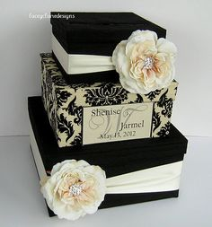 Card Box Damask Wedding Card Holder by LaceyClaireDesigns on Etsy, $107.00