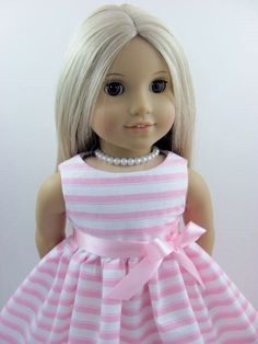 Pink and White Stripe Dress and Sash made for by TheWhimsicalDoll2, $10.00