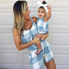 Mommy And Me Clothes Set Summer Matching Mom Girl Sets Plaid Short Sleeve Family Look Mother Daughter Jumpsuits Family Outfits Mother Daughter Matching Outfits, Mother Daughter Fashion, Matching Family Outfits, Mother And Daughter Clothes, Mommy Daughter Dresses, Mom And Baby Outfits, Mommy And Me Dresses, Kids Outfits, Awesome Mom