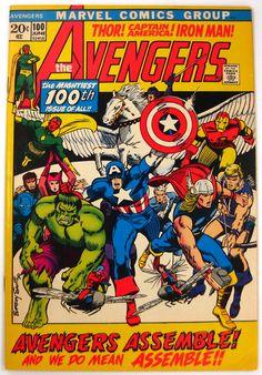 Avengers #100 Captain America Hulk Thor Iron Man Marvel Comics (1972) FREE Shipping -- Artist: Barry Windsor-Smith -- Condition: VF- or better $120.00