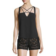 BCBGMAXAZRIA Raelyn Sleeveless Strappy Top ($125) ❤ liked on Polyvore featuring tops, black, slimming tank, sleeveless tops, spaghetti-strap tank tops, sleeveless tank tops and slimming tank top
