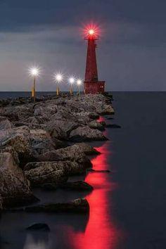 I like how the lighthouse light moves across the water. Lighthouse Lighting, Lighthouse Pictures, Lighthouse Art, Beautiful World, Beautiful Places, Beautiful Pictures, Beacon Of Light, Water Tower, Belle Photo