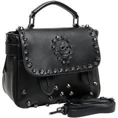 MG Collection MING Black Gothic Skull Studded Structured Tote Bag w/... ($40) ❤ liked on Polyvore featuring bags, handbags, tote bags, accessories, handbags purses, skull handbags, structured tote, hand bags and tote purses