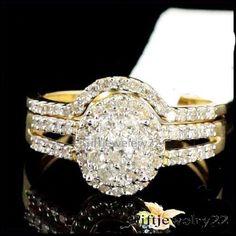 1.40CT Round Cut Diamond Engagement Bridal Ring Wedding Band Set 10K Yellow Gold #giftjewelry22