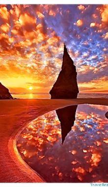 Sunrise On Wizards Hat Bandon Oregon Coast