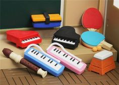 funny Japanese music instrument eraser with black piano