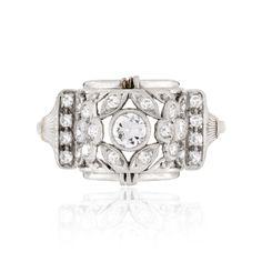 Art Deco platinum and diamond openwork floral ring, circa 1915
