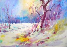 Snow Scene by Joanne Boon Thomas. This fantastic picture was painted using Brusho - to find out more about this amazing painting product visit BrushoSecrets.com