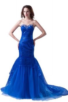 Blue Sequined and Jeweled Mermaid Gown