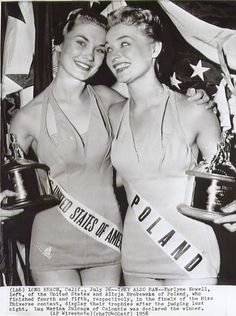 Miss United States of America and Miss Poland, contestants in the 1958 Miss Universe  pageant.