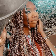 African Braids Hairstyles, Loose Hairstyles, Black Girls Hairstyles, How To Grow Natural Hair, Grow Long Hair, Brandy Braids, Colored Box Braids, Large Box Braids, Curly Hair Styles