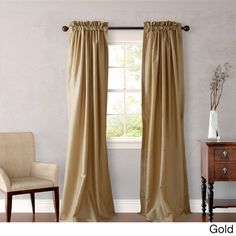 Overstock Heritage Landing 96-inch Faux Silk Lined Curtain Panel Pair