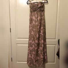 J. Crew Maxi Dress Beautiful Maxi Dress by J. Crew! Worn a couple of times.  very soft colors of  pink and brown J. Crew Dresses Maxi